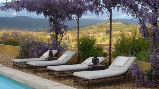 Le Mas Jorel: la glycine de la piscine en Avril