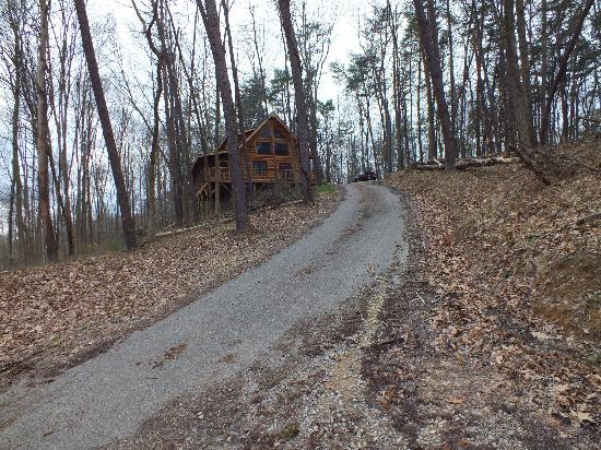 Valley View Cabins: This is just how steep this cabin's driveway is. There's a long, steep driveway just to get to t