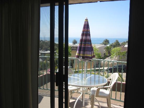 Encinitas, CA: view from living room through balcony windows