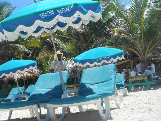 Orient Bay Beach : At Bikini Beach(1 of 5 areas) an incredibly rude staff person yanked away these umbrellas and ch