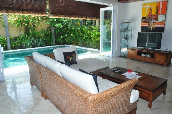 The Zen Villas: Harmony Villa Living area with bi-fold doors