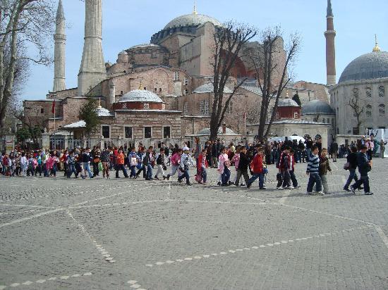 Sultanahmet District: School crossing hagia sophia