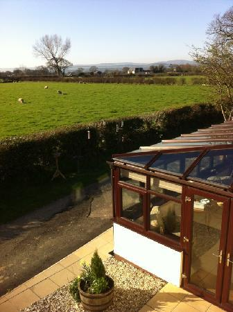 Tan-yr-Onnen: View or conservatory and field from the Poppy suite