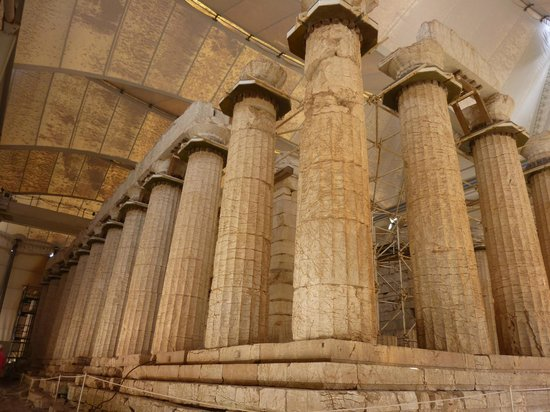 Temple of Apollo Epicurius at Bassae: The first sight of the huge columns as you enter the tent.