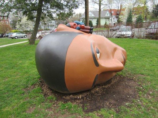 Montclair Art Museum : On the Museum's back lawn: Listen (2008) by Montclair sculptor Tom Nussbaum