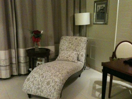 Iberostar Grand Hotel Bavaro: The chaise in our room! and FLOWERS!
