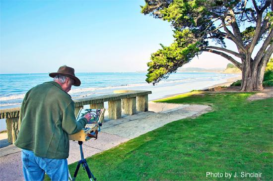 Summerland, CA: Painter on Butterfly Beach