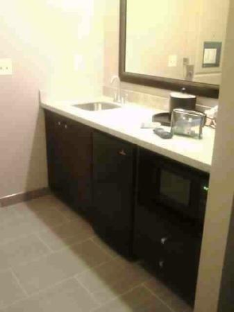 Hampton Inn & Suites Edgewood/Aberdeen-South: sink area with microwave and refrigerator