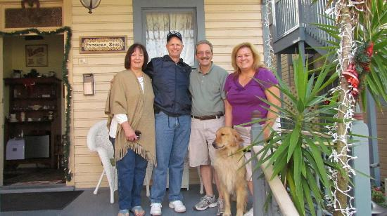 Victorian House: Mary Ann & Brad with Innkeepers Anthony & Marilyn and their beautiful dog, Max.