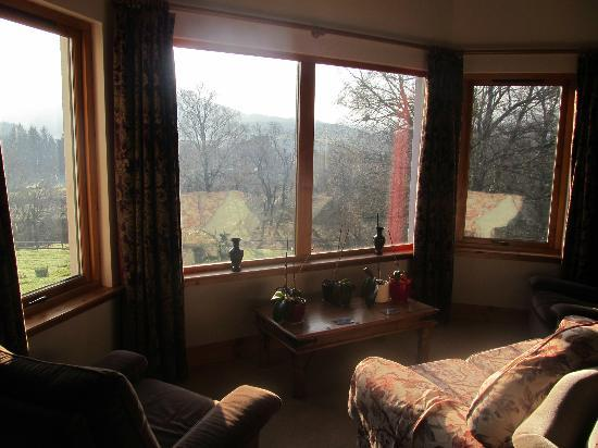 Kinbrylie: Lounge windows overlooking the mountain.