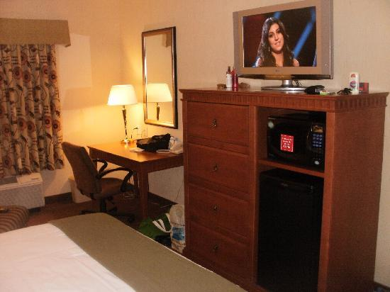 Holiday Inn Express Airport Dieppe: Microwave, Mini Fridge, tv, Dresser & Desk.