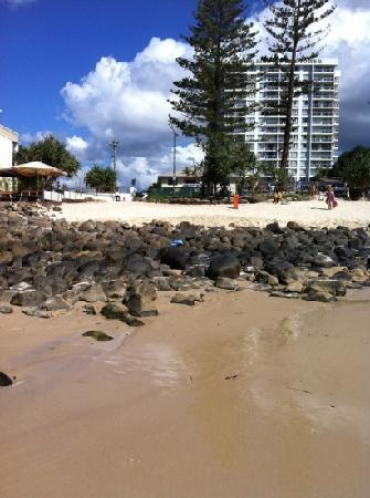 Burleigh Beach Tower: that's them on the right of the photo I took while standing on the beach