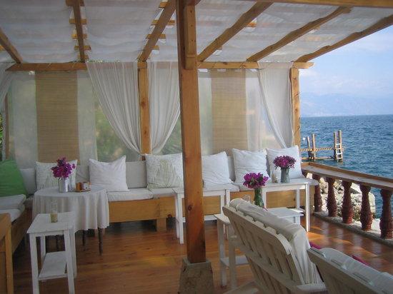 La Casa Rosa Hotel: Detalle del lounge-cafe