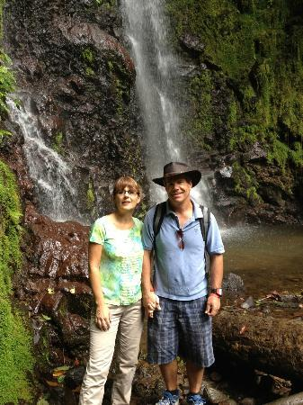 Costa Rica Tour Office: posing in front Falls (on the rope bridge walk outside of La Fortuna)