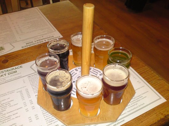 Prague Brewery Tour: A selection of beer.
