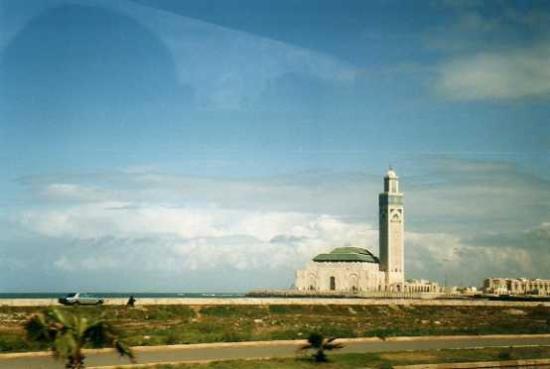 Kazablanka, Fas: Moschea Hassan II: Vista dal bus