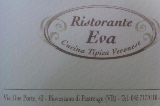 Ristorante Eva : Il biglietto da visita.