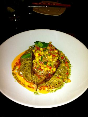Sublime: Grilled Tuna Steak served over Soba Noodles with a Pineapple and Cucumber Salsa