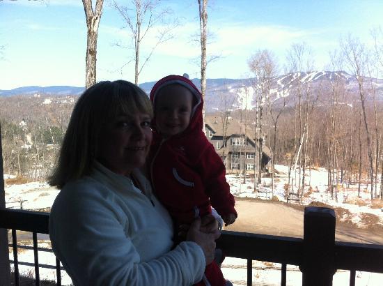 Cap Tremblant Mountain Resort : View of the mountain from the room's patio - family members