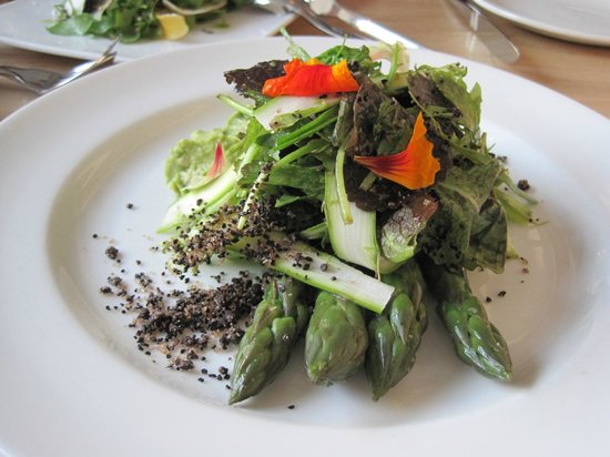 Commonwealth - San Francisco: Asparagus, crushed avocado, black olive, chicory root, almond, nasturtium