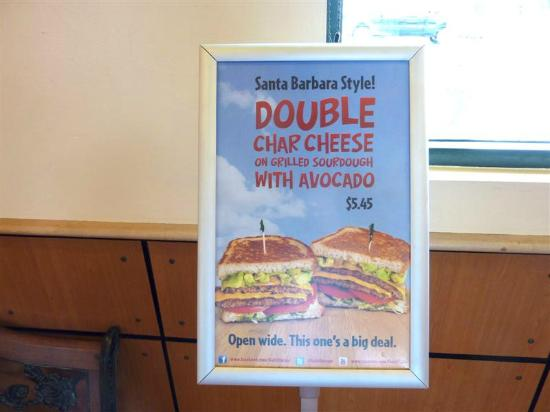 Habit: Double Char Cheese on Grilled Sour Dough with Avocado