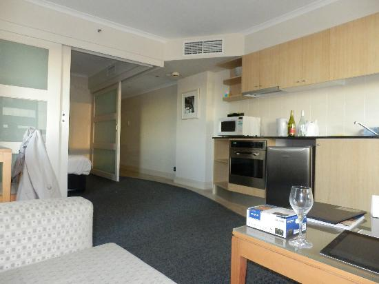 Mantra on Kent : bedroom area can be closed off with sliding doors.