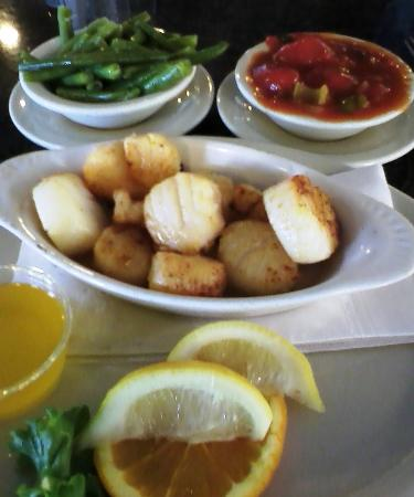 Penrose Diner: Broiled Scallop with Soup or Salad and two sides...$14....WOW, amazing!