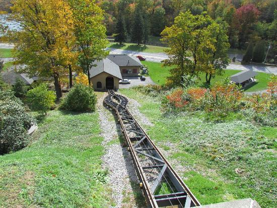 Horseshoe Curve National Historic Landmark: Funicular Track, looking down to the visitor center