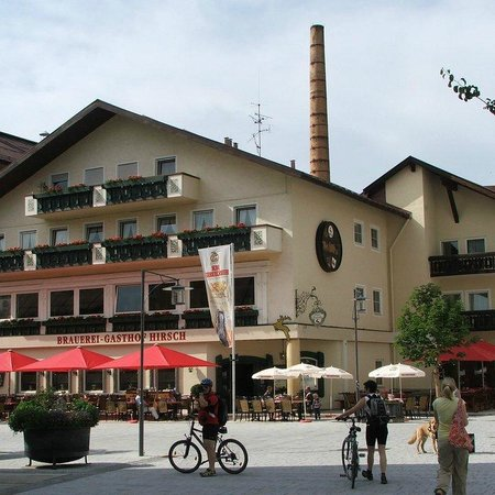 The front of the hotel and biergarten picture of hotel for Sonthofen gasthof
