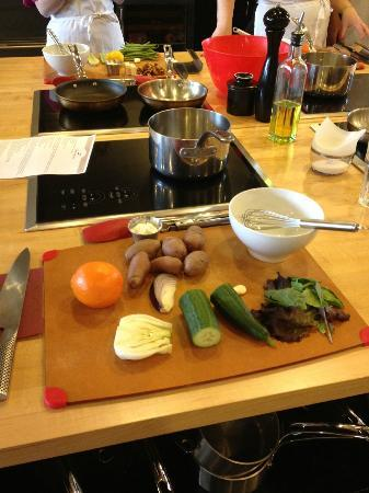 The Learning Kitchen : Our cooking stations fully prepared upon arrival