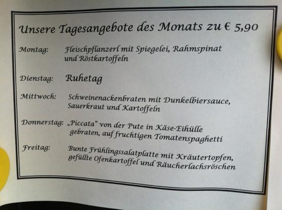 Gasthof Neuwirt: tagesangebote 4/2012
