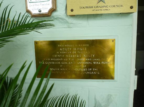 Adley House: Historical Plaque