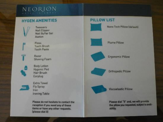 Neorion Hotel: Pillow menu