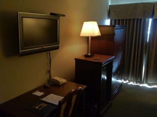 Travelodge Kingston LaSalle Hotel: tv and workspace