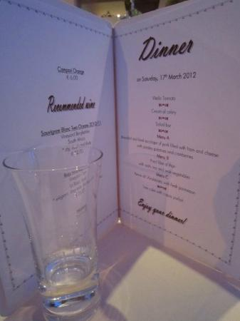 Hotel Heitzmann: Menu for Dinner, provided at breakfast so you could choose your main meal for that evening