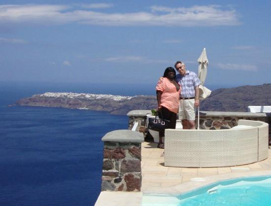 Tholos Resort: At the hotel pool, with Oia in the background