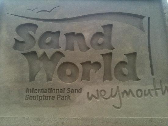 Weymouth, UK: Sandworld sand sculpture 2012 Sandworld Logo