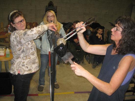Hands On Glass Studio: Blowing a glass pumpkin