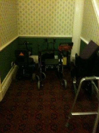 Hydro Hotel: the mobility chairs parked up before every meal time