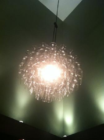 Airfield Estates Winery: wine glass chandelier in the library