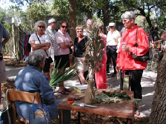 Anna Maria Island Historical Museum: AMIHS docent demonstrates basket weaving with palm fronds