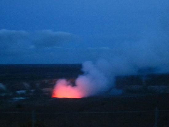 Kilauea Volcano Military Camp: Lava glowing on Kilauea Crater