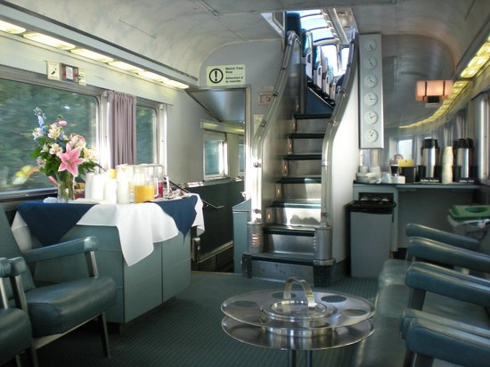 Quebec, Canada: Sleeper Class Dome Car at the end of the train