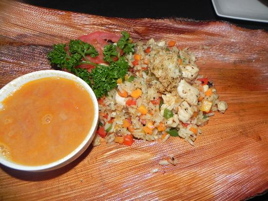 Mayan Bistro: shrimp soup with rice, shrimp, chicken and veggies