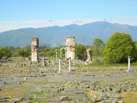 Filippi Archaeological Site: Philippi and mountains.