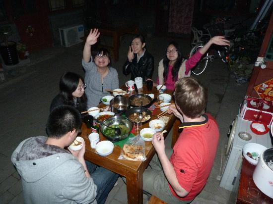 Inner City : Chinese Dinner in the Patio togehter with hostel staff