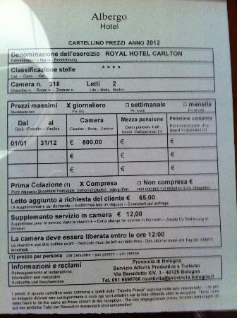 Royal Hotel Carlton: costo stanza doppia