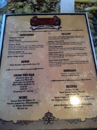 Saddle Sore Saloon: front of menu
