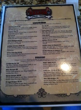 Saddle Sore Saloon: back of menu
