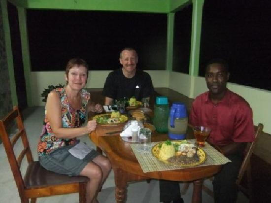 Serenity Lodges Dominica: Owner Eating with Guest